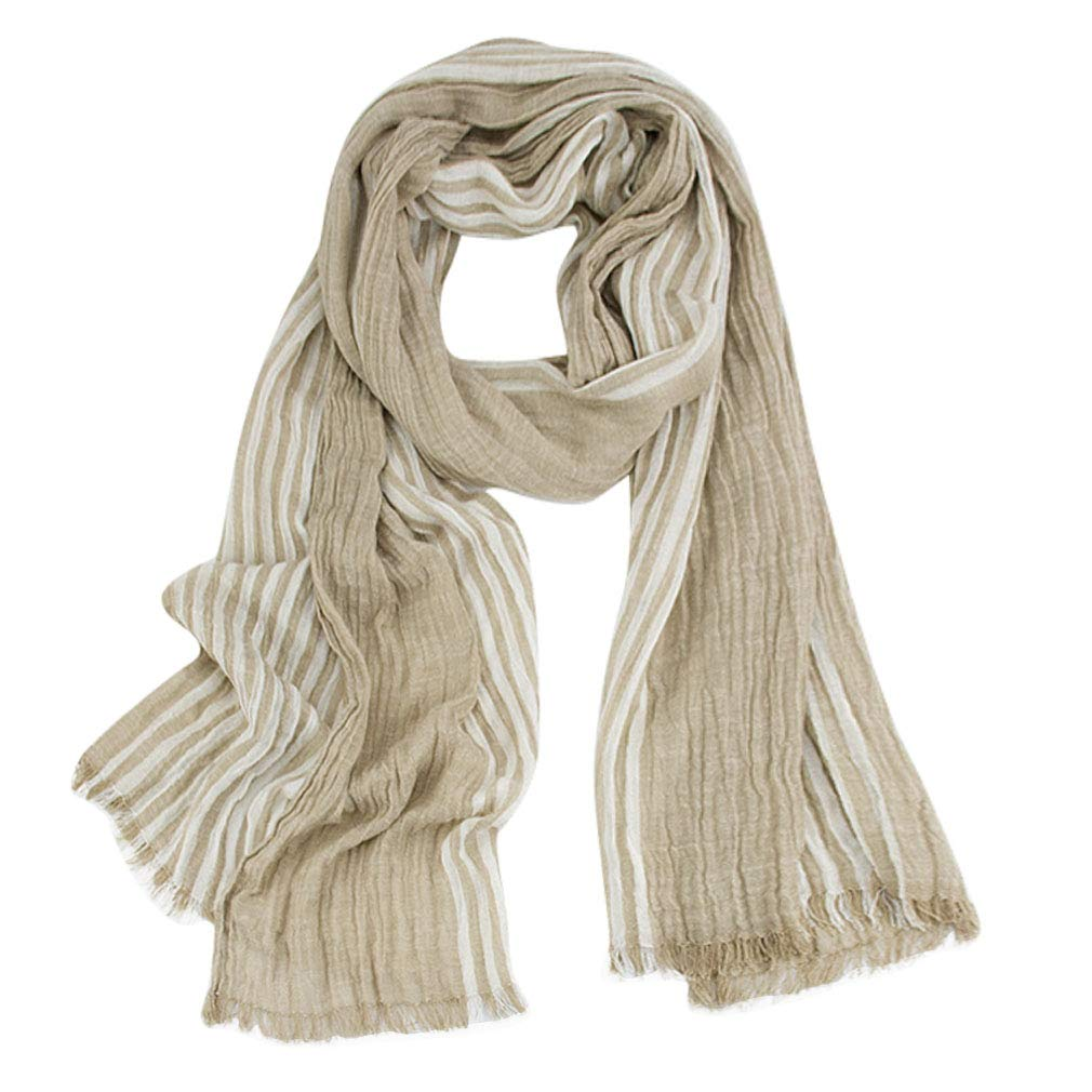 GERINLY Cotton-Linen Scarves Mens Stripe Crinkle Long Scarf (Khaki)