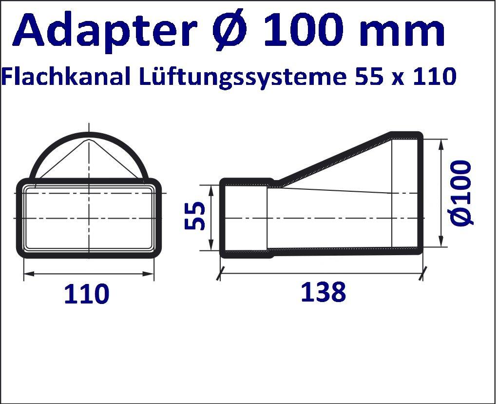 Hohe Qualit/ät ABS-Kunststoff Kanalverbinder f/ür 55 x 110 Flachkanal L/üftungssysteme FS55-C Abluftkanal oder Zuluftkanal