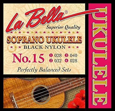 LaBella 15 Soprano Ukulele Strings, Black Nylon (Uke Soprano Strings)