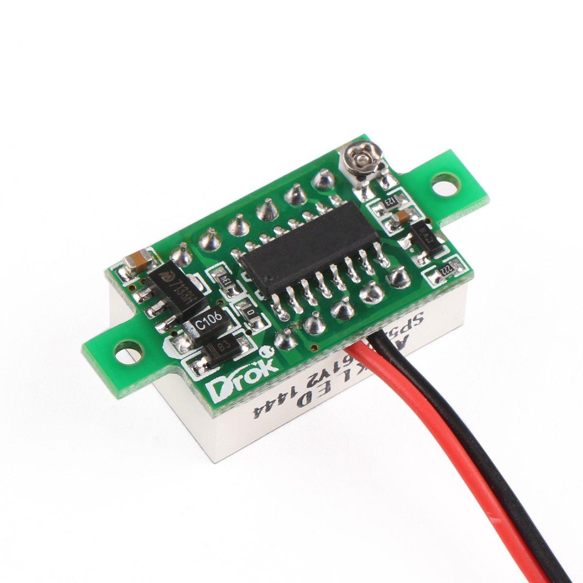 Drok Small Digital Dc Volt Panel Electronics Voltmeter Cr7 Green Car Battery Monitor Voltage Tester 12 24v 036 330v Blue Led 2 Wires Home Improvement