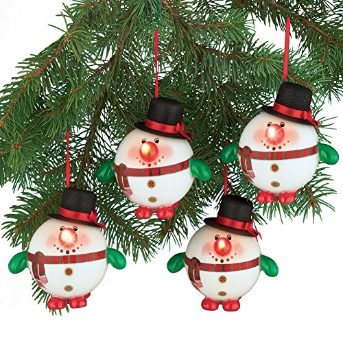 lighted snowman christmas tree ornaments set of 4