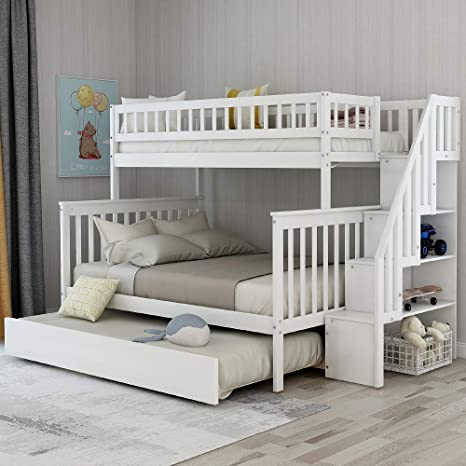 Amazon Com Solid Wood Twin Over Full Bunk Beds With Trundle Bunk Beds For Kids With Ladder And Guard Rail White Bunk Bed With Trundle Kitchen Dining