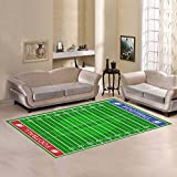 InterestPrint American Football Field Area Rugs Carpet 7 x 5 Feet, Green Sport Field Modern Carpet Floor Rugs Mat for Children Kids Home Dining Room Playroom Decoration