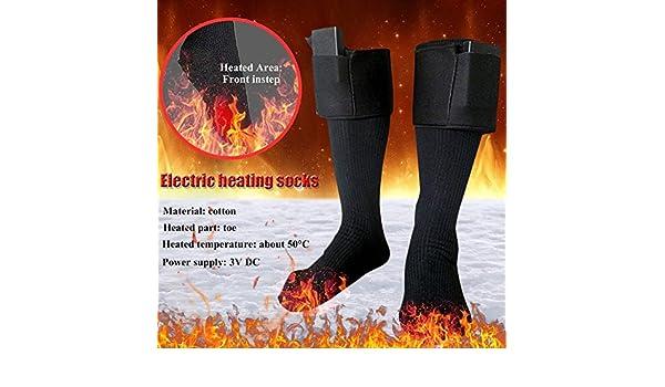Calcetines térmicos con calefacción a pilas, calentadores de pies de invierno, calcetines térmicos cálidos eléctricos, calcetines cálidos de algodón para ...