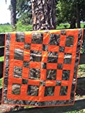 "Nursery Bedding Real Tree Camo & Orange Hand Made Baby Quilt 36"" x 50"" Baby Room Decor Crib Blanket"