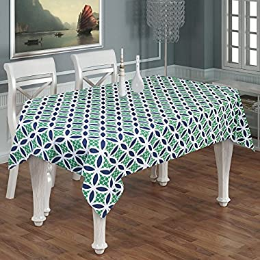 Indian Handmade Printed Rectangle Tablecloth 8-Seater -100% Cotton Geometrical Indian Tablecloth Rectangular Green And Blue -55  x 95