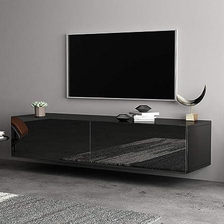Mueble para Televisión Estilo Moderno 140 x 30 x 40cm Mueble para TV de Pared con Cajon TV Unidad Gabinete para Dormitorio, Sala de Estar, Oficina, Hotel(Negro): Amazon.es: Hogar