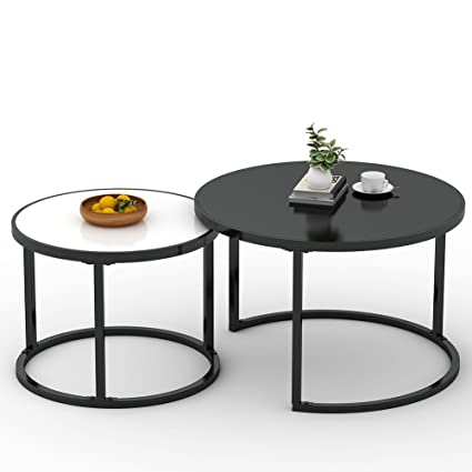 Amazoncom Nesting Coffee Table LITTLE TREE Small Round Stackable - Round nesting cocktail table
