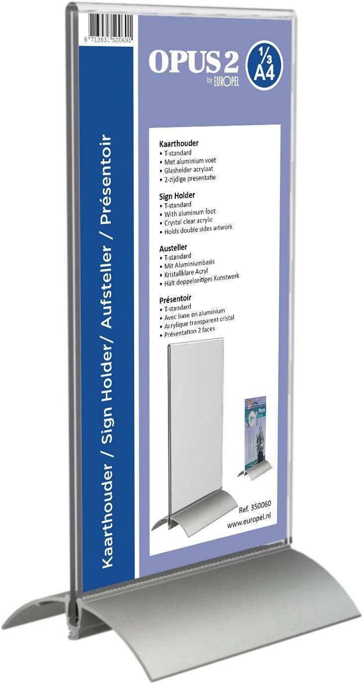 Hoch. OPUS 2 350060-Tischaufsteller DIN 1//3 A4 Aluminium Acryl