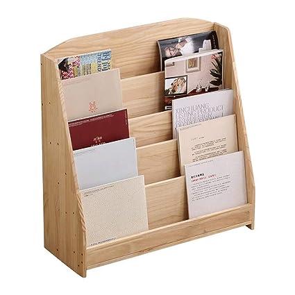 Amazoncom S J Solid Wood Bookcase Simple Magazine Rack 6 Layers