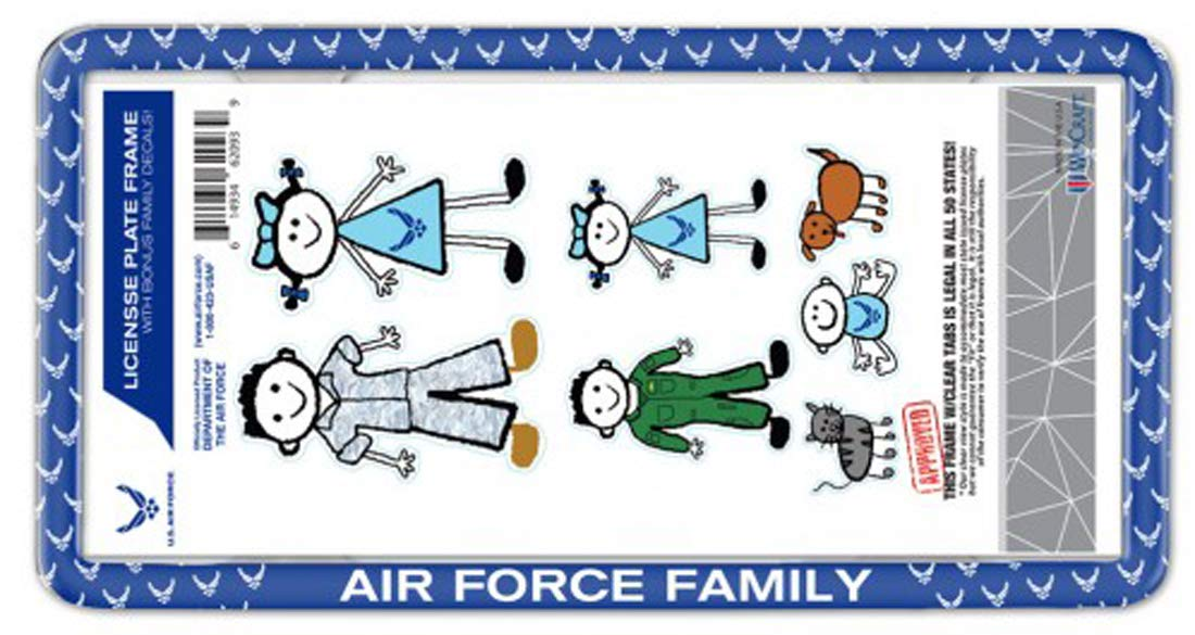 WinCraft Air Force Family License Plate Frame and 7 Family Decals