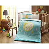 LaModaHome 4 Pcs Luxury Soft Colored Licensed Baby Quilt Cover Set 100% Cotton Turquoise White Yellow Lemon Drop Kids Smiling Baby Bed with Flat Sheet