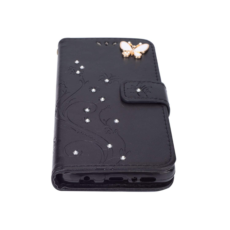 Felfy Compatible avec Coque Galaxy J4 Plus Portefeuille PU Cuir Housse Bumper Cristal Diamant Strass Papillon Motif Flip Case Magn/étique Antichoc Pochette Coque Etui avec Fente pour Carte,Bleu