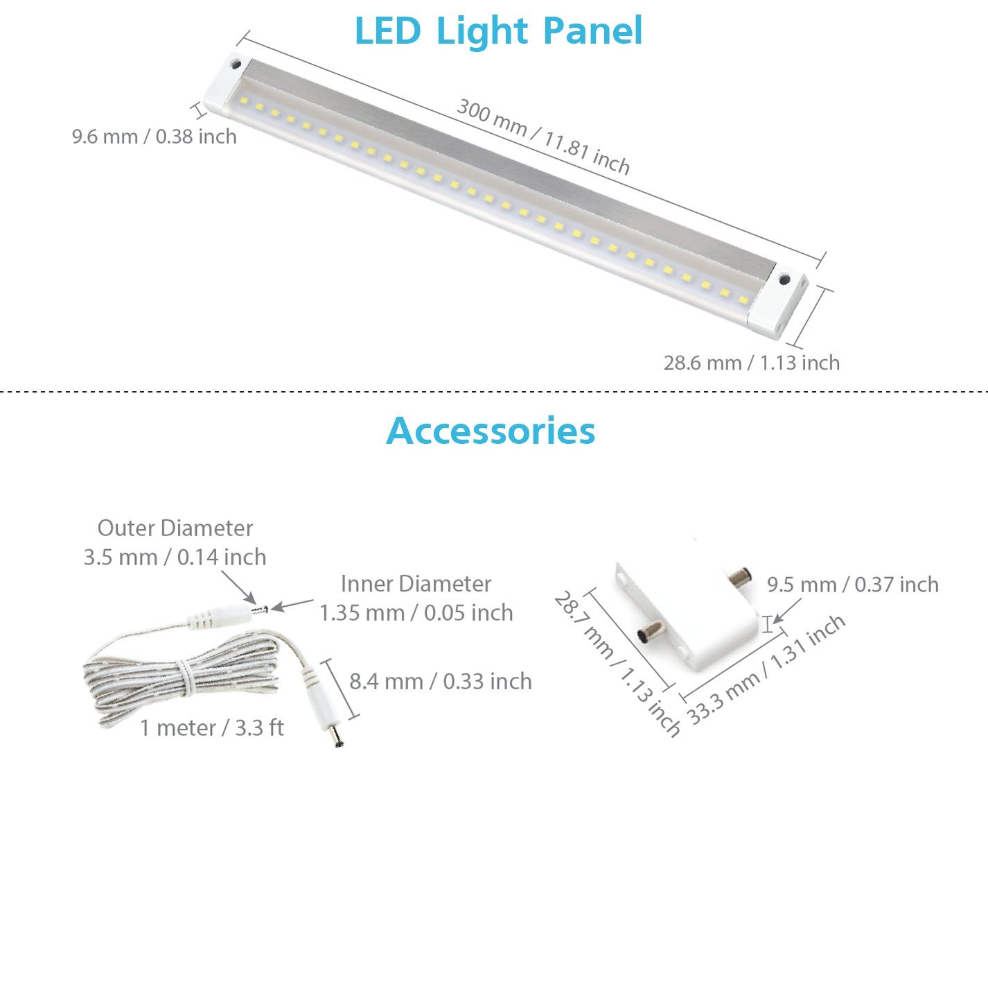 EShine White Finish 12 inch LED Under Cabinet Lighting Bar Panel with Accessories No Power Supply Included – NO IR Sensor, Cool White 6000K