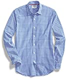 Goodthreads Men's Standard-Fit Long-Sleeve Summertime Gingham Shirt, Blue/White, Large