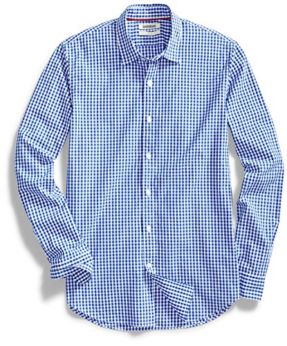 Goodthreads Men's Standard-Fit Long-Sleeve Gingham Plaid Poplin Shirt, Blue/White, Small