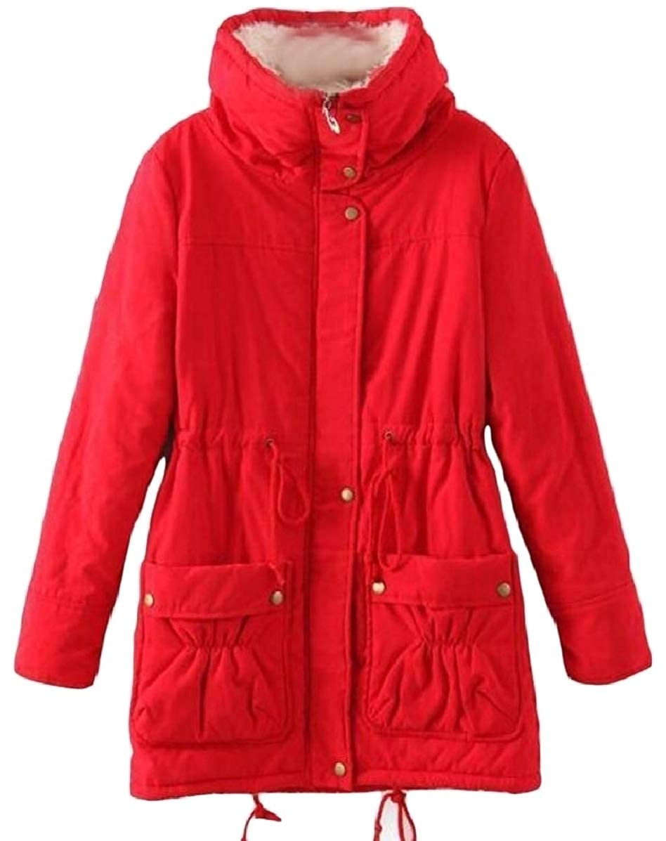 Red omniscient Women Mid Length Thick Warm Jacket Faux Lamb Wool Lined Coat