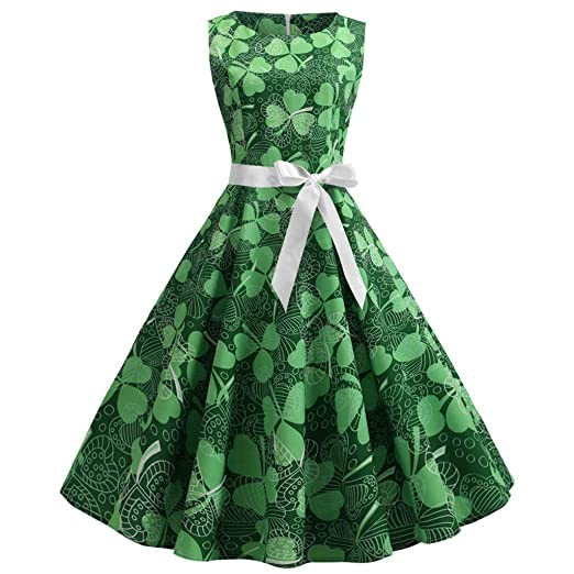 571ac98a221e Image Unavailable. Image not available for. Color: St. Patrick's Day Women  Green Dress Vintage Print Sleeveless Pleated ...