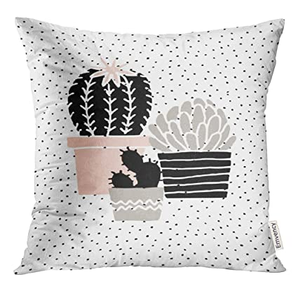 Fine Vanmi Throw Pillow Cover Abstract Cactus Plants In Black White Taupe And Pastel Pink Scandinavian Style Modern And Elegant Cacti Decorative Pillow Dailytribune Chair Design For Home Dailytribuneorg