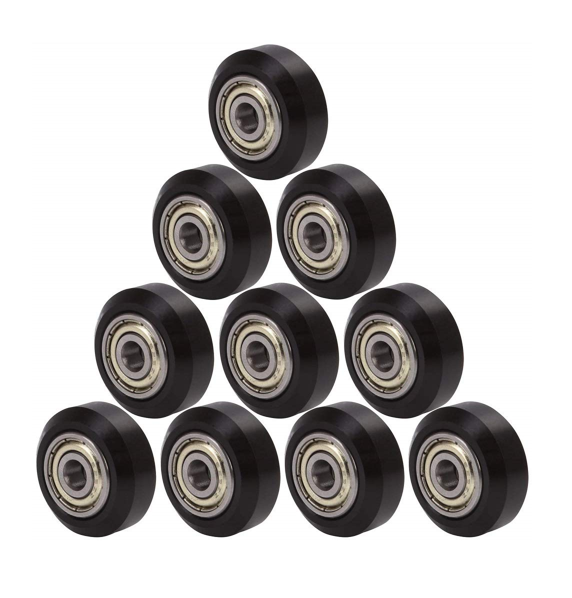 CHPOWER Big Plastic Pulley Wheel with Bearing Idler Pulley Gear Perlin Wheel for Creality CR-10, CR-10S, S4, S5, Ender, Ender 3 Pro, CR-10S Pro 3D Printers, Pack of 10, Black
