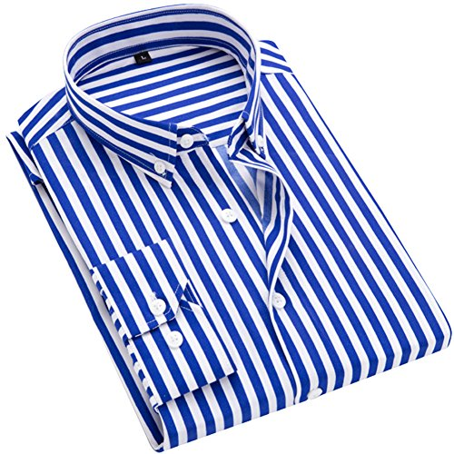 Blue Striped Long Sleeve Shirt (DOKKIA Men's Casual Long Sleeve Vertical Striped Slim Fit Dress Shirts (Blue White, Large))