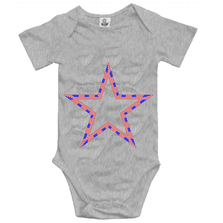 Qilrocm Grandkids Jumpsuit Soft Romper Comfy Bodysuit USA Flag Star Creeper