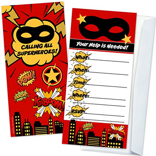 Superhero Kids Birthday Party Invitations (12 Count with Envelopes) - Large 4 x 9 Inch on Sturdy Cardstock - Flat Two Sided Design (Designs Birthday Invitations)