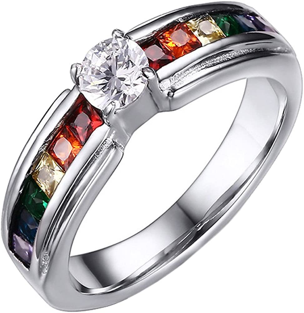 Oakky Unisex Stainless Steel Silver Rainbow Cubic Zirconia Pride LGBT Ring Gay & Lesbian Wedding Band Silver/Black