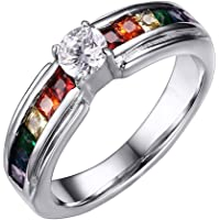 Oakky Unisex Stainless Steel Silver Rainbow Cubic Zirconia Pride LGBT Ring Gay & Lesbian Wedding Band