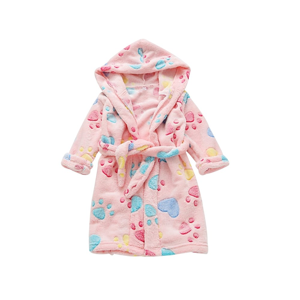 Mesinsefra kids Hooded Terry Robe Fleece Bathrobe Children's Pajamas Sleepwear