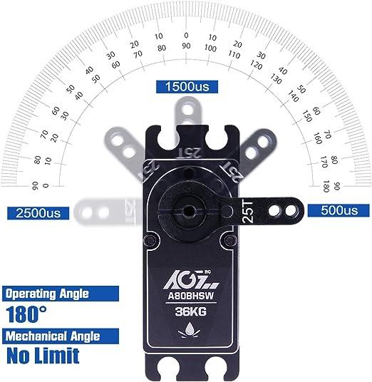 AGFrc - Servo Digital de Alta torsión (36 kg, con Engranaje de Metal CNC, programable, sin escobillas, IP67, Resistente al Agua, para 1/8 1/10 ...