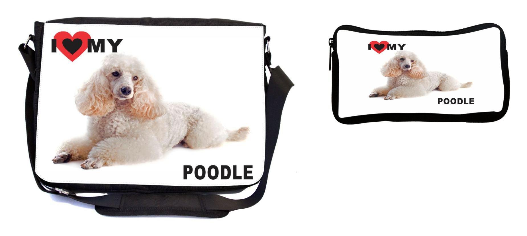 Rikki Knight I Love My White Poodle Dog Design Multifunction Messenger Bag - School Bag - Laptop Bag - with Padded Insert for School or Work - Includes Pencil Case