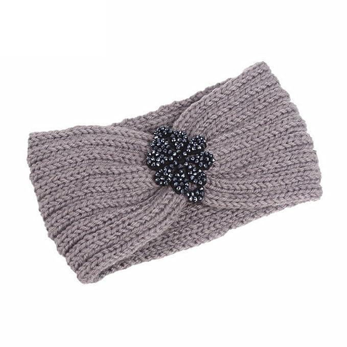 a063be89fc4d49 Dorical Damen Winter Strick Stirnband Strass Gestrickt Stirnbänder Kopfband  Haarband Turban Crochet Strick Stirnband Haarband Ear