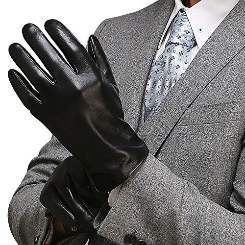 Men's Genuine Australia Lambskin Touchscreen Leather Gloves Texting Driving Winter Gloves(Cashmere Lining),Black leather gloves Size (Black Lambskin Leather Gloves)