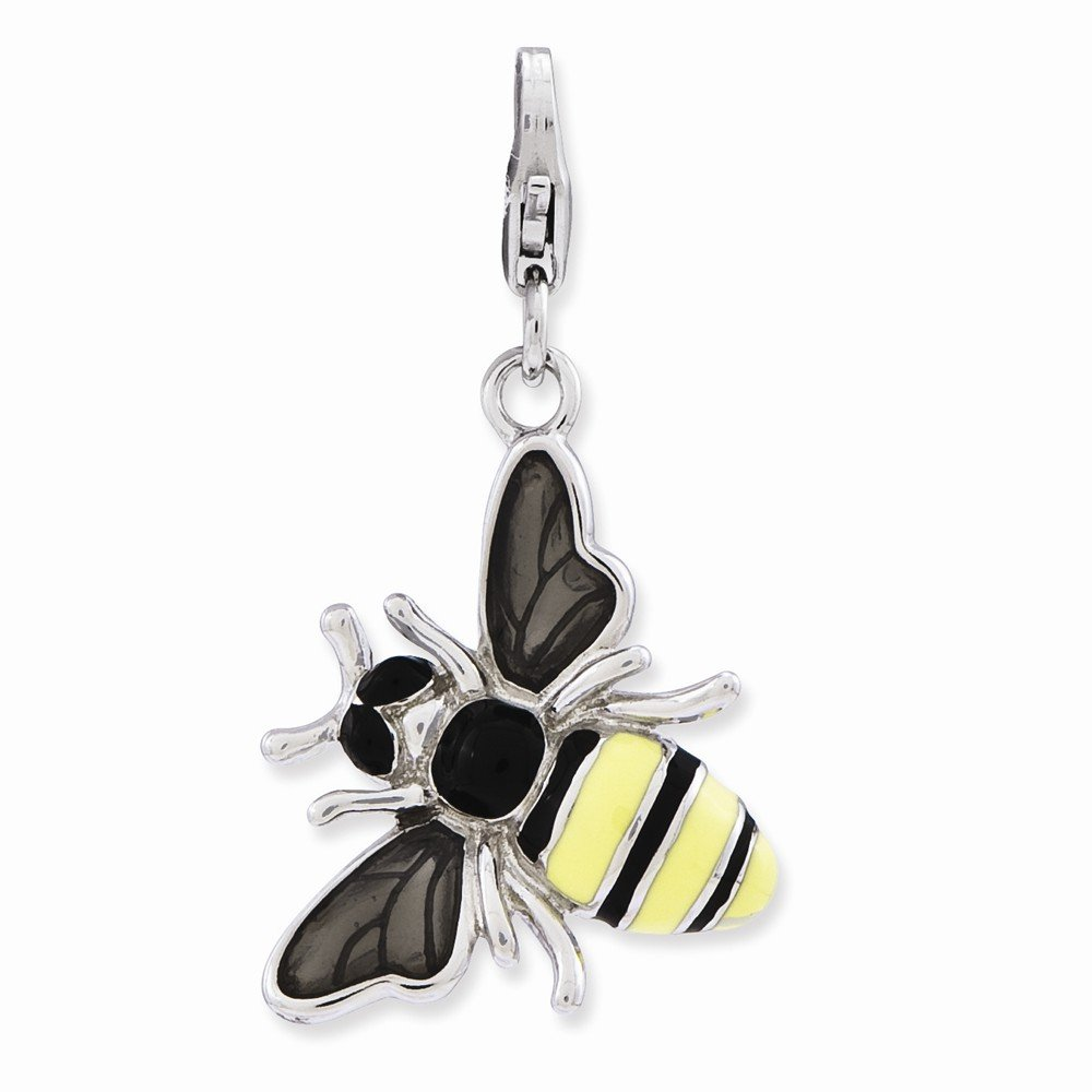 Sterling Silver Enameled 3-d Yellow Jacket W/lobster Clasp Charm