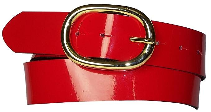 Fronhofer Gürtel Damen Lack 4 cm ovale goldene Gürtelschnalle, Lackgürtel, Wechselgürtel, 17856, Farbe:Rot, Größe:Bundweite 75 cm