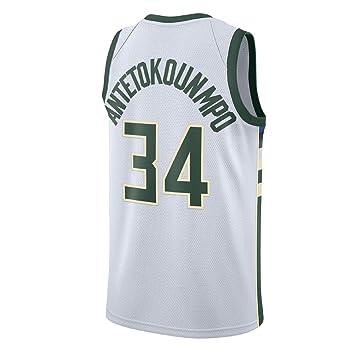 AJSPORT Camiseta de Antetokounmpo Equipo de Bucks Tipo SG Jersey para Hombre (Blanco, XXL