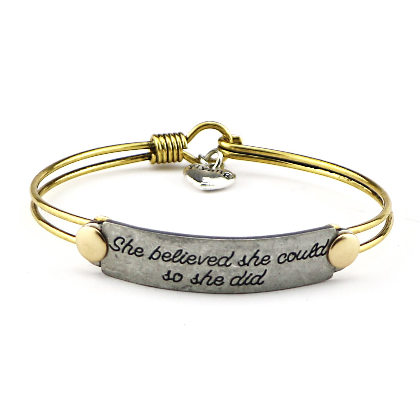 Yiyang Inspirational Handmade Brass Bangle Bracelet Motivational Quotes Engraved Adjustable Vintage Jewelry Gifts (She believed she could so she did)