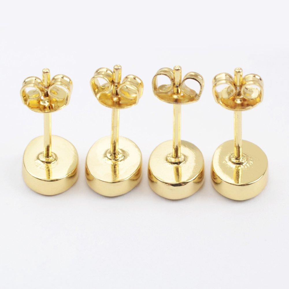 ZENGORI 1 Pair Gold Plated Multi Shape Japanese Opal Stud Earrings Bezel Setting