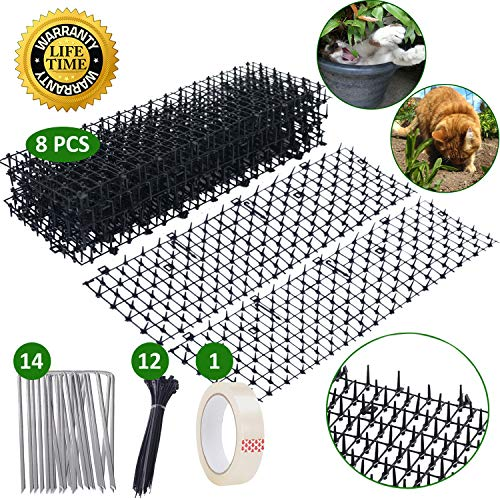 Scat Cat Mat, Anti-cat Prickle Strips w/ 14 Staples, 12 Strips, Tape, Stop Animals from Digging Pots, Yard, Prevent Them Climbing Birdfeeder, Safe no Hurt, 5.2