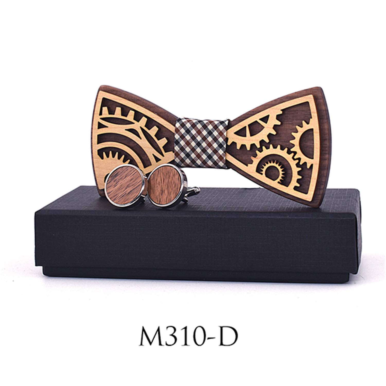 Wooden Gear Bow Tie Mens Wood Bowtie Cufflinks Set Business Neckties Cuff Links For Wedding Groom