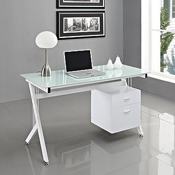 White Glass Computer Desk Next Day Delivery Amazoncouk Kitchen