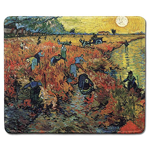 (dealzEpic - Art Mousepad - Natural Rubber Mouse Pad with Famous Fine Art Painting of The Red Vineyardby Vincent Van Gogh - Stitched Edges - 9.5x7.9 inches)