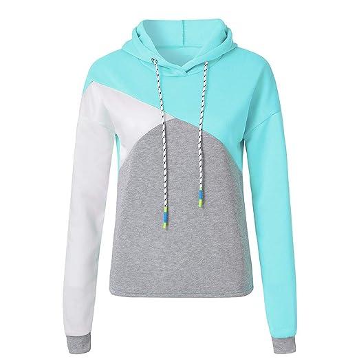 Sweatshirts for Teen Girls,Women Autumn Long Sleeve Patchwork Hoodie Hooded Sweatshirt Pullover Tops Blouse