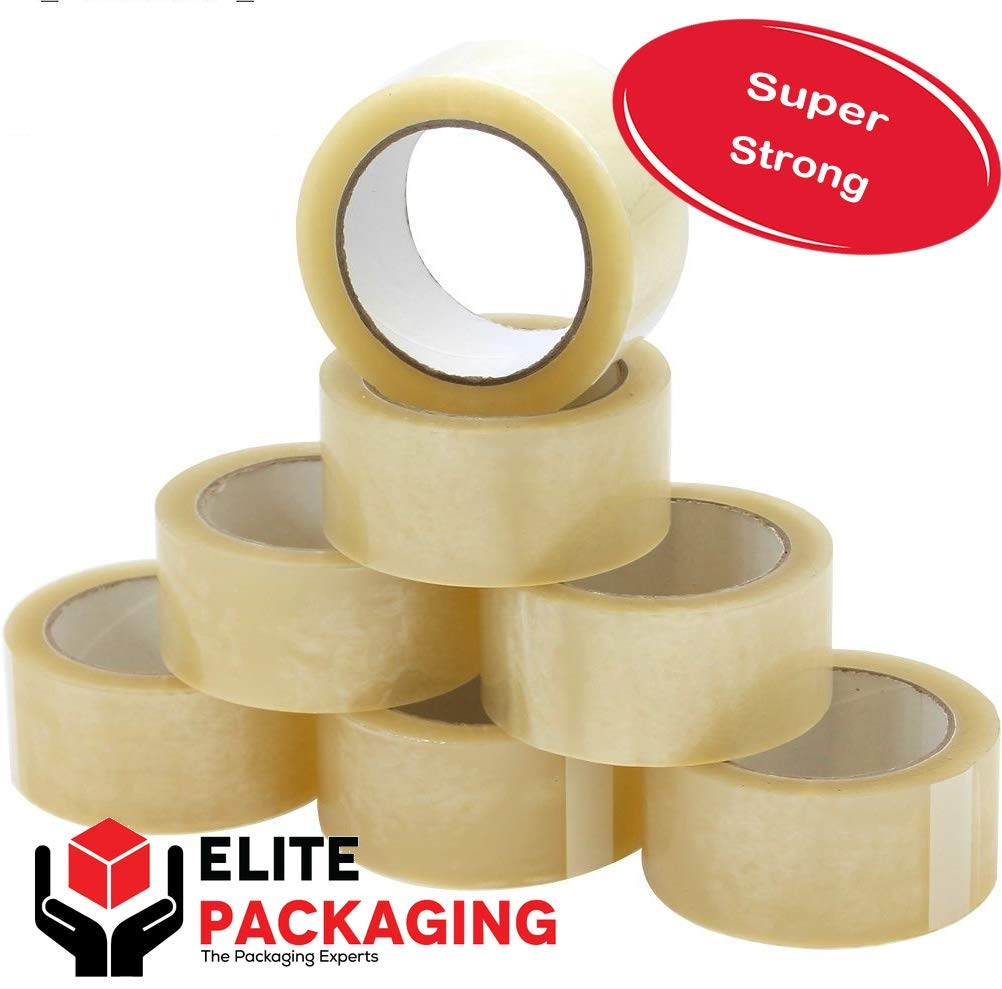 Clear Heavy Duty Packaging Tape 48mm x 66m for Strong, Secure and Sticky Seal Suitable for Packing Parcels and Boxes (12) Elite-Packaging