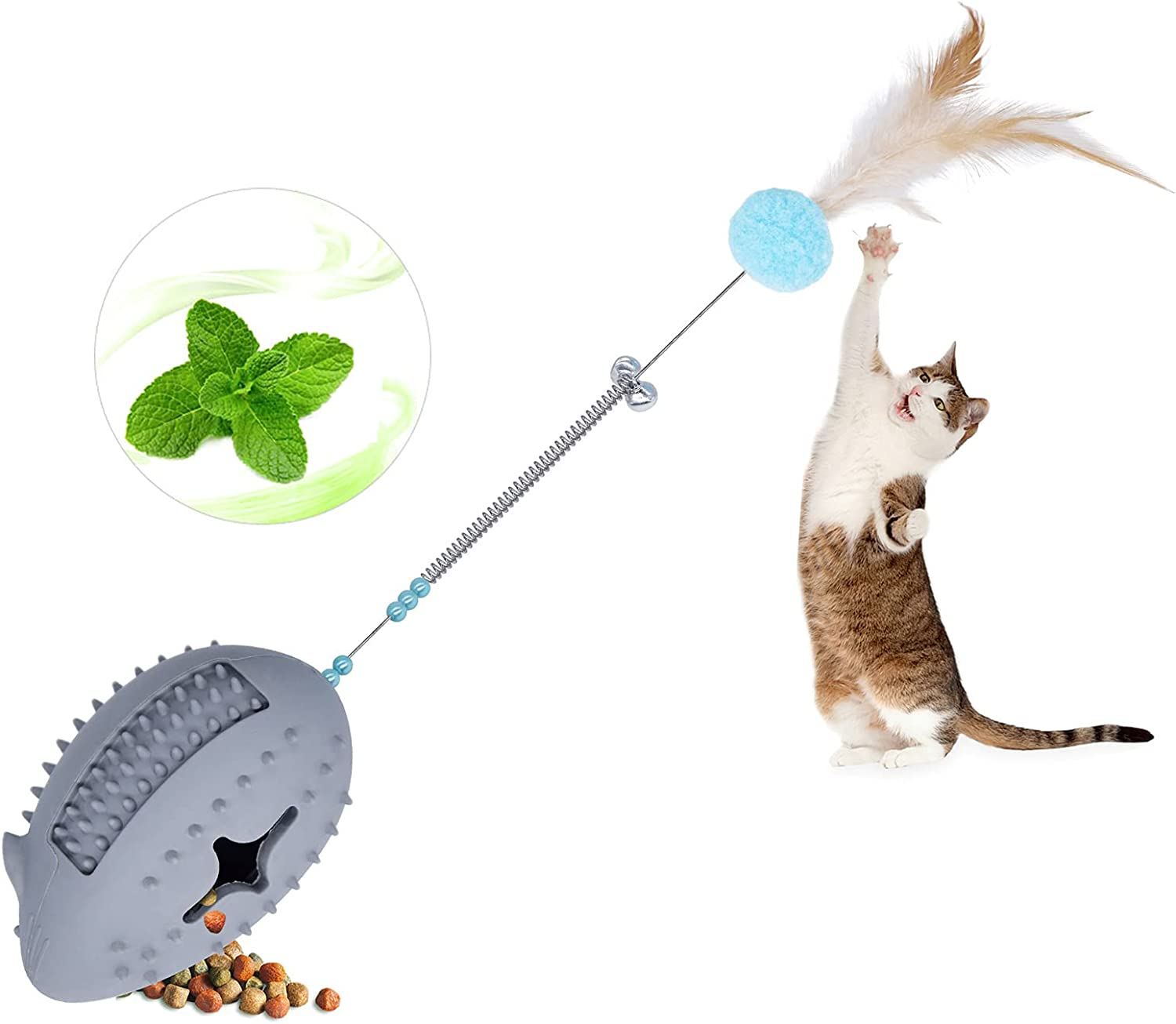 Petdexon Catnip Toys 5 in 1 Interactive Mouse Cat Chew Toy Upgraded Cat Feather Teaser Wand Toys - Kitten Puzzle Toy with Spring Bells - Rubber Food Dispenser Toy for Indoor Cats(Gray)