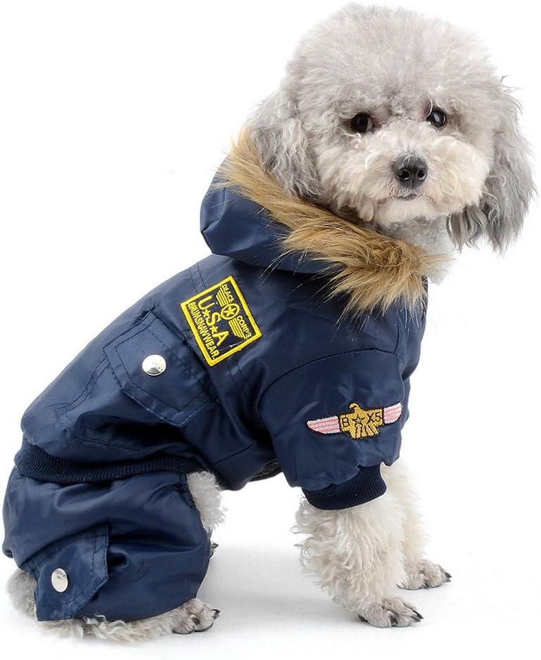SELMAI Pegasus Pequeño Perro Ropa para niñas niños Aviador Abrigo de Invierno Forro Polar Mono de esquí para con Capucha Impermeable Azul L