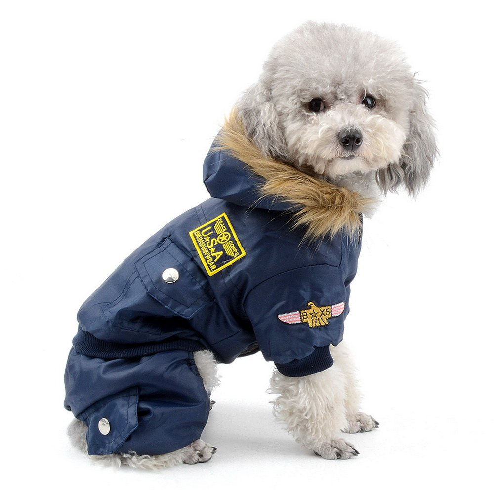 SELMAI Waterproof Fleece Lined Dog Winter Coat Snow Suit Airman Hooded Jumpsuit Snowsuits for Small Dog Puppy Chihuahua Blue S by SELMAI (Image #1)