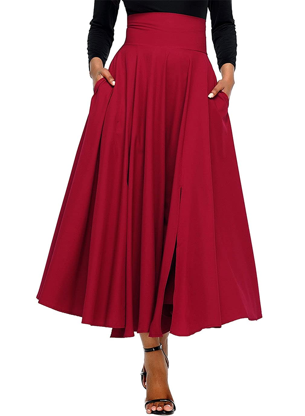 DOKOTOO Women's Casual Retro High Waist Pleated Belted Maxi Skirt WG65053