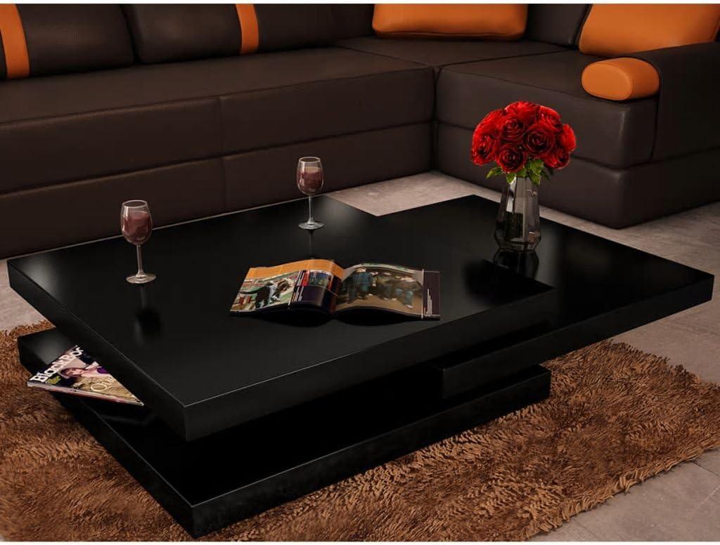 Vislone Tavolino di caff/è Laccato 3 Tavolini con Ripiani Estensibili,Bianco Laccato,80 x 80 x 30,5 cm